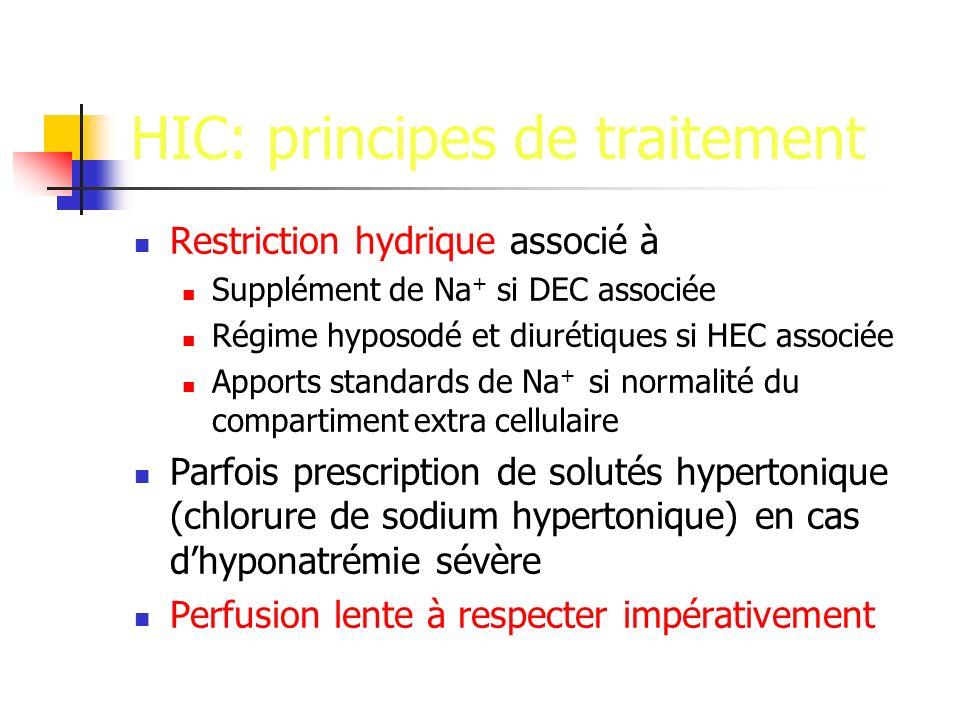 HIC: principes de traitement Restriction hydrique associé à Supplément de Na + si DEC associée Régime hyposodé et diurétiques si HEC associée Apports standards de Na + si normalité du compartiment extra cellulaire Parfois prescription de solutés hypertonique (chlorure de sodium hypertonique) en cas dhyponatrémie sévère Perfusion lente à respecter impérativement