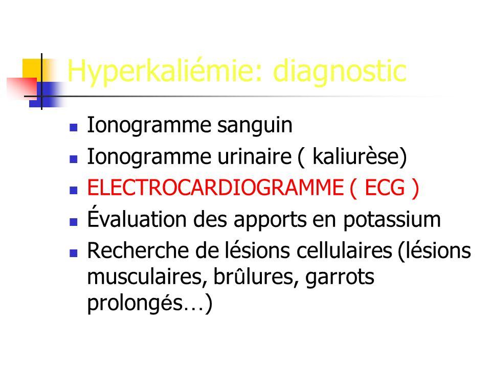 Hyperkaliémie: diagnostic Ionogramme sanguin Ionogramme urinaire ( kaliurèse) ELECTROCARDIOGRAMME ( ECG ) Évaluation des apports en potassium Recherch