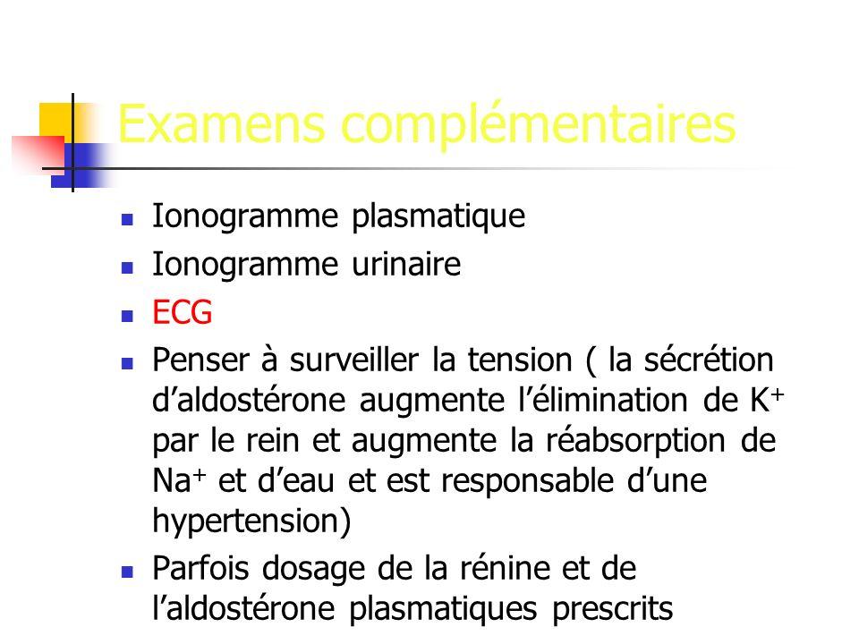 Examens complémentaires Ionogramme plasmatique Ionogramme urinaire ECG Penser à surveiller la tension ( la sécrétion daldostérone augmente lélimination de K + par le rein et augmente la réabsorption de Na + et deau et est responsable dune hypertension) Parfois dosage de la rénine et de laldostérone plasmatiques prescrits