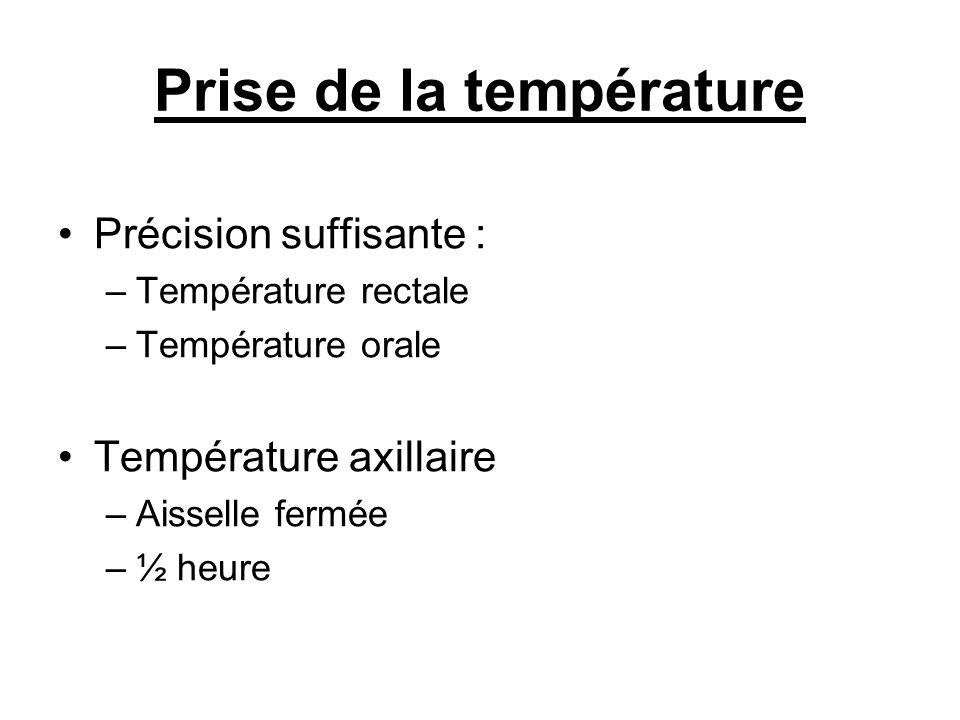 Prise de la température Précision suffisante : –Température rectale –Température orale Température axillaire –Aisselle fermée –½ heure