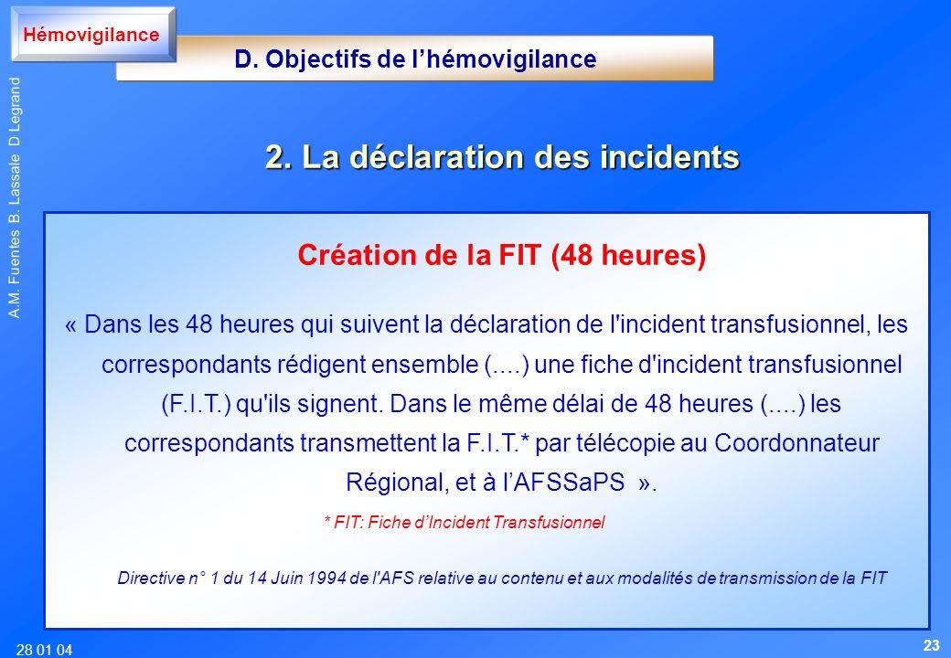28 01 04 A.M. Fuentes B. Lassale D Legrand Création de la FIT (48 heures) « Dans les 48 heures qui suivent la déclaration de l'incident transfusionnel