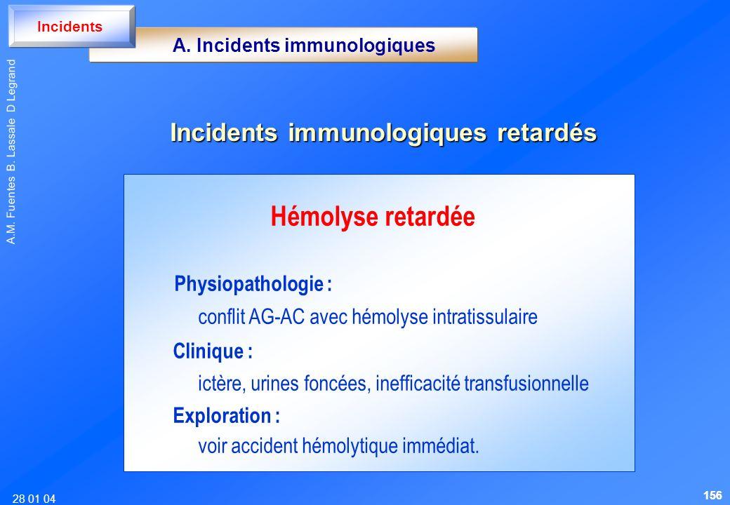 28 01 04 A.M. Fuentes B. Lassale D Legrand Hémolyse retardée Physiopathologie : conflit AG-AC avec hémolyse intratissulaire Clinique : ictère, urines