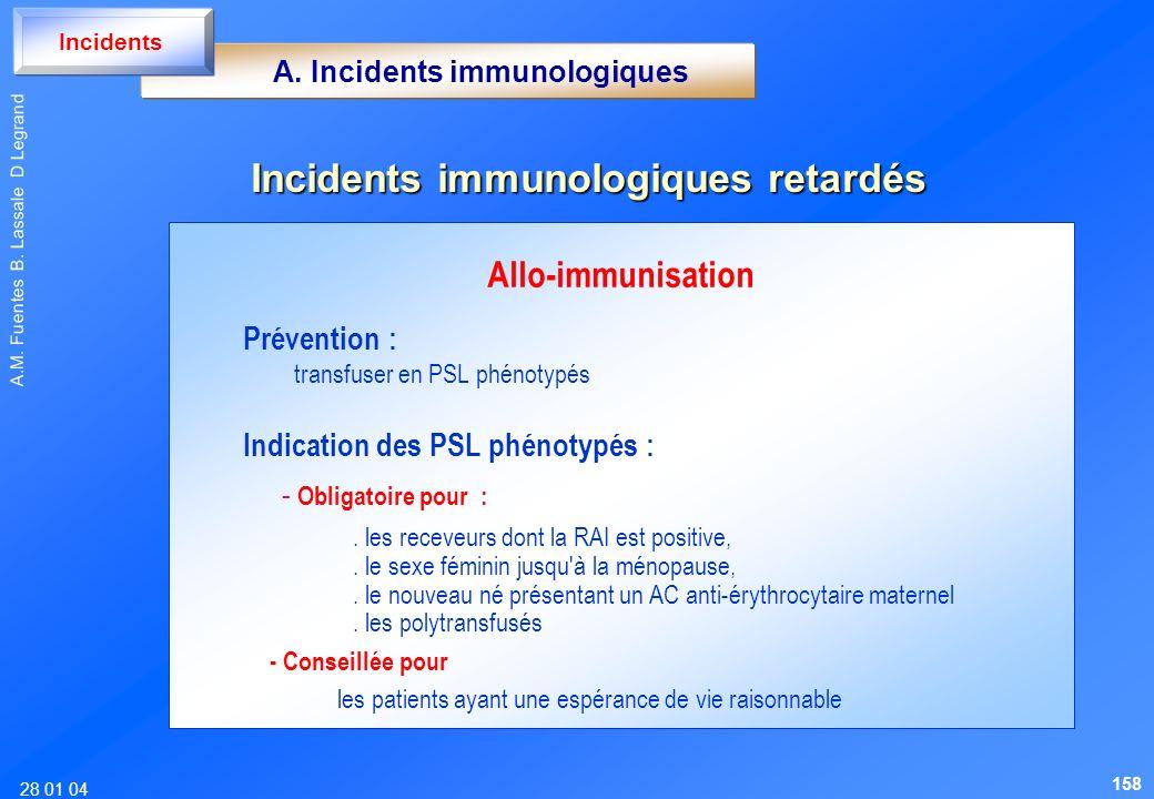 28 01 04 A.M. Fuentes B. Lassale D Legrand Allo-immunisation Prévention : transfuser en PSL phénotypés Indication des PSL phénotypés : - Obligatoire p