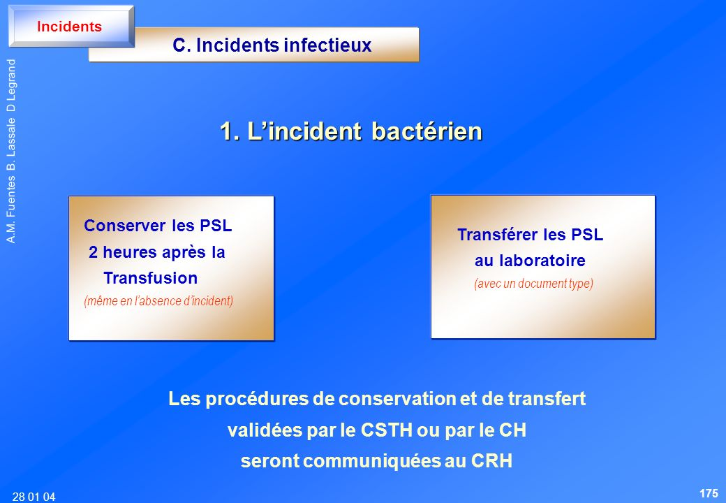 28 01 04 A.M. Fuentes B. Lassale D Legrand C. Incidents infectieux Incidents 1. Lincident bactérien Transférer les PSL au laboratoire (avec un documen
