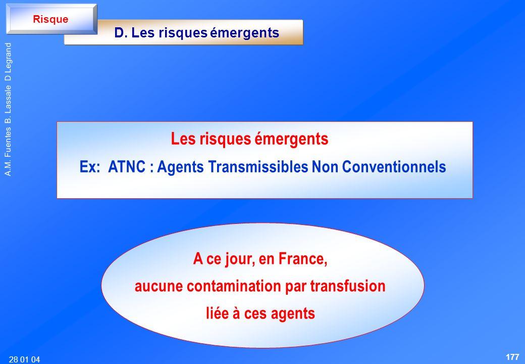 28 01 04 A.M. Fuentes B. Lassale D Legrand D. Les risques émergents Risque Les risques émergents Ex: ATNC : Agents Transmissibles Non Conventionnels A