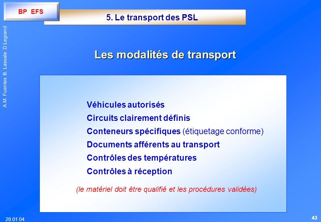 28 01 04 A.M. Fuentes B. Lassale D Legrand 5. Le transport des PSL Véhicules autorisés Circuits clairement définis Conteneurs spécifiques (étiquetage