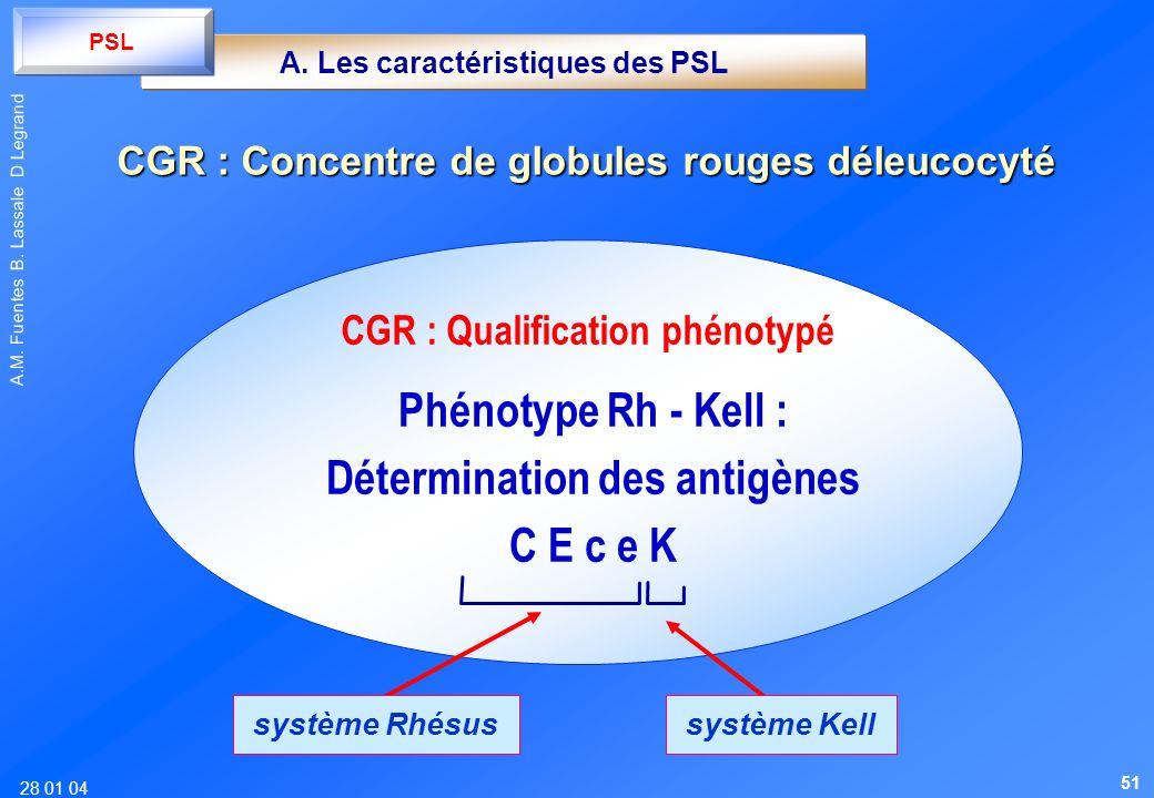 28 01 04 A.M. Fuentes B. Lassale D Legrand Phénotype Rh - Kell : Détermination des antigènes C E c e K système Rhésus système Kell CGR : Qualification