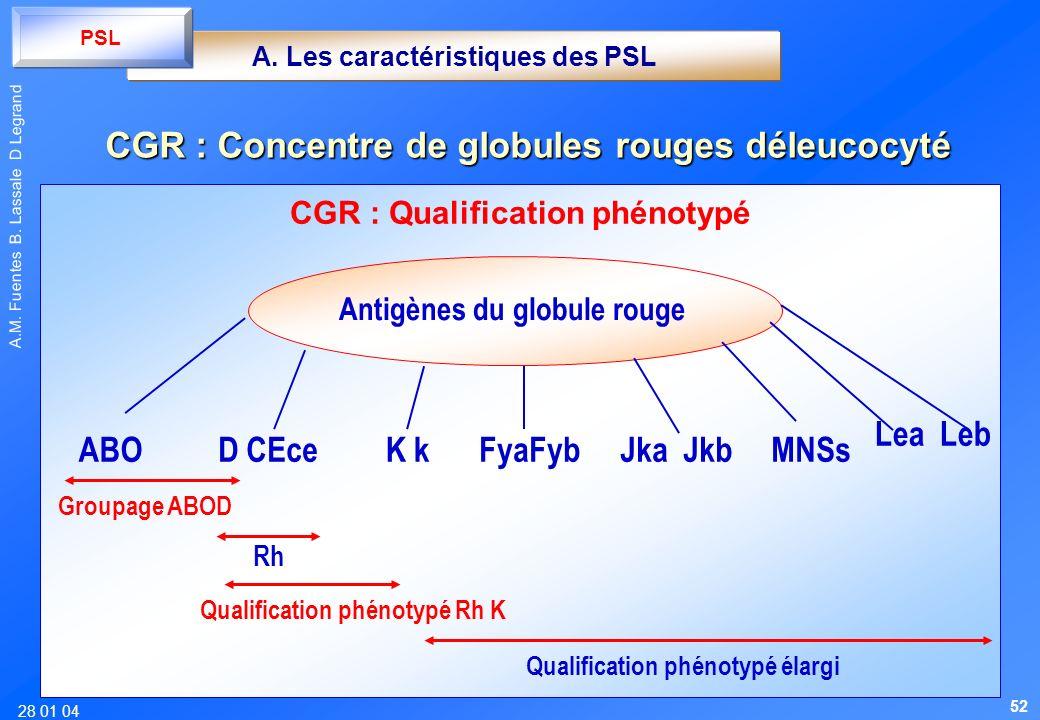 28 01 04 A.M. Fuentes B. Lassale D Legrand CGR : Qualification phénotypé Antigènes du globule rouge ABOD CEceK kFyaFybJka JkbMNSs Groupage ABOD Qualif