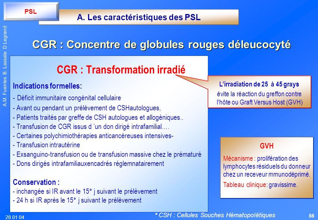 28 01 04 A.M. Fuentes B. Lassale D Legrand CGR : Transformation irradié Indications formelles: - Déficit immunitaire congénital cellulaire - Avant ou