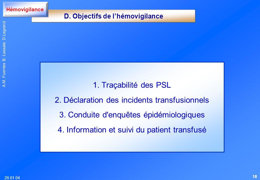 28 01 04 A.M. Fuentes B. Lassale D Legrand 1. Traçabilité des PSL 2. Déclaration des incidents transfusionnels 3. Conduite d'enquêtes épidémiologiques