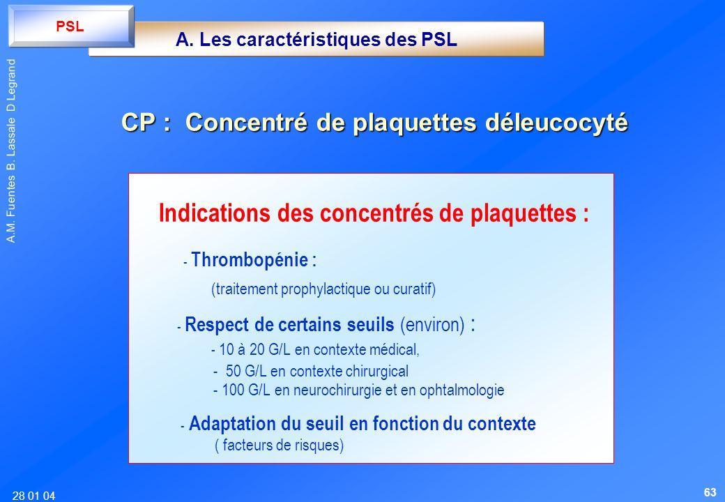 28 01 04 A.M. Fuentes B. Lassale D Legrand Indications des concentrés de plaquettes : - Thrombopénie : (traitement prophylactique ou curatif) - Respec