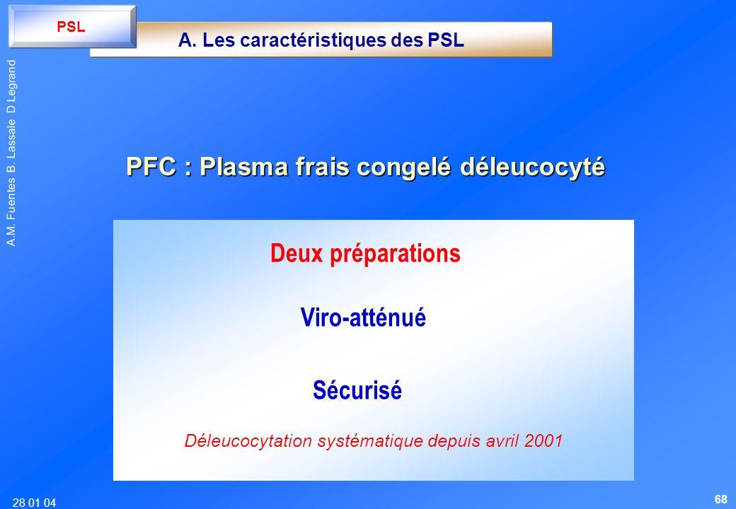 28 01 04 A.M. Fuentes B. Lassale D Legrand Deux préparations Viro-atténué Sécurisé Déleucocytation systématique depuis avril 2001 A. Les caractéristiq