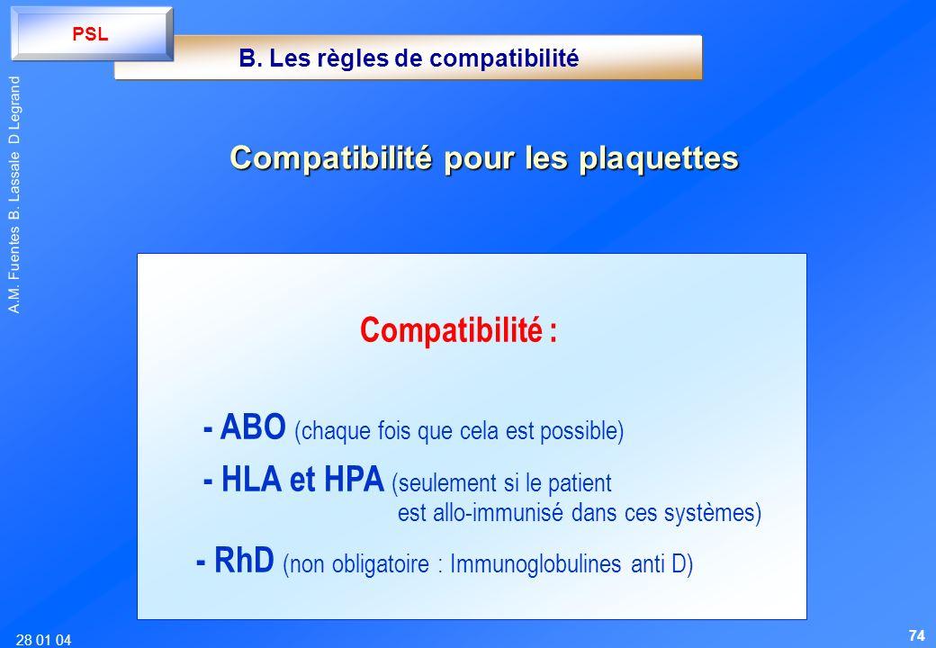 28 01 04 A.M. Fuentes B. Lassale D Legrand Compatibilité pour les plaquettes Compatibilité : - ABO (chaque fois que cela est possible) - HLA et HPA (s