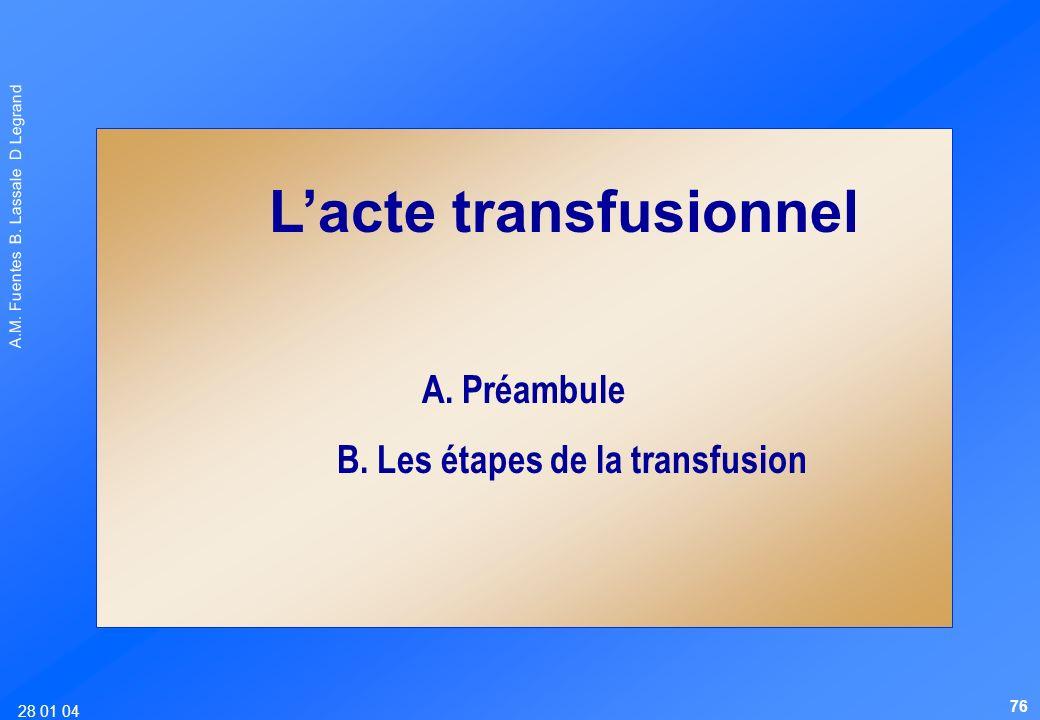 28 01 04 A.M. Fuentes B. Lassale D Legrand Lacte transfusionnel A. Préambule B. Les étapes de la transfusion 76