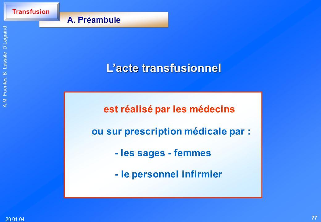 28 01 04 A.M. Fuentes B. Lassale D Legrand Lacte transfusionnel Lacte transfusionnel A. Préambule Transfusion est réalisé par les médecins ou sur pres