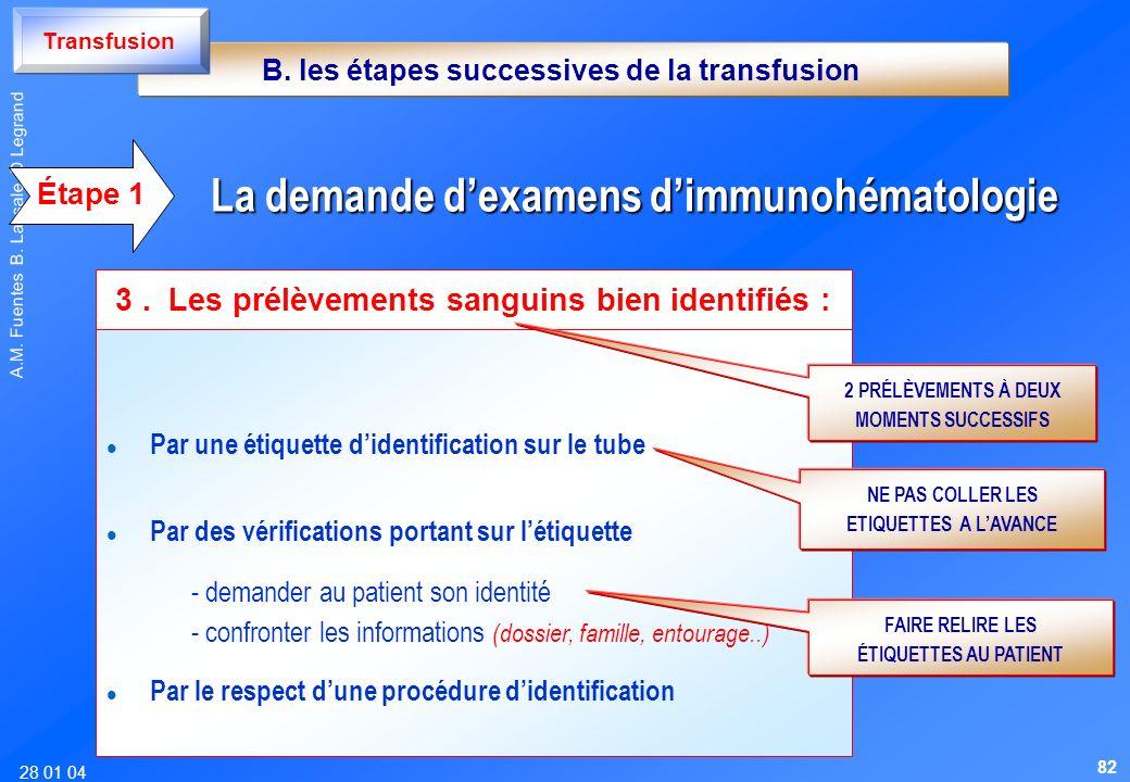 28 01 04 A.M. Fuentes B. Lassale D Legrand l l Par une étiquette didentification sur le tube l l Par des vérifications portant sur létiquette - demand