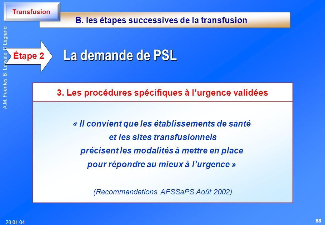 28 01 04 A.M. Fuentes B. Lassale D Legrand « Il convient que les établissements de santé et les sites transfusionnels précisent les modalités à mettre