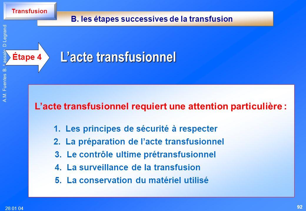 28 01 04 A.M. Fuentes B. Lassale D Legrand Lacte transfusionnel requiert une attention particulière : 1. Les principes de sécurité à respecter 2. La p