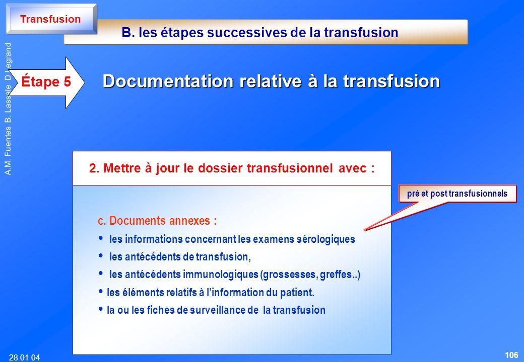 28 01 04 A.M. Fuentes B. Lassale D Legrand c. Documents annexes : les informations concernant les examens sérologiques les antécédents de transfusion,