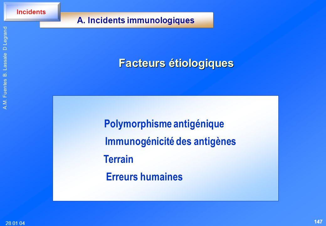 28 01 04 A.M. Fuentes B. Lassale D Legrand Facteurs étiologiques Polymorphisme antigénique Immunogénicité des antigènes Terrain Erreurs humaines A. In