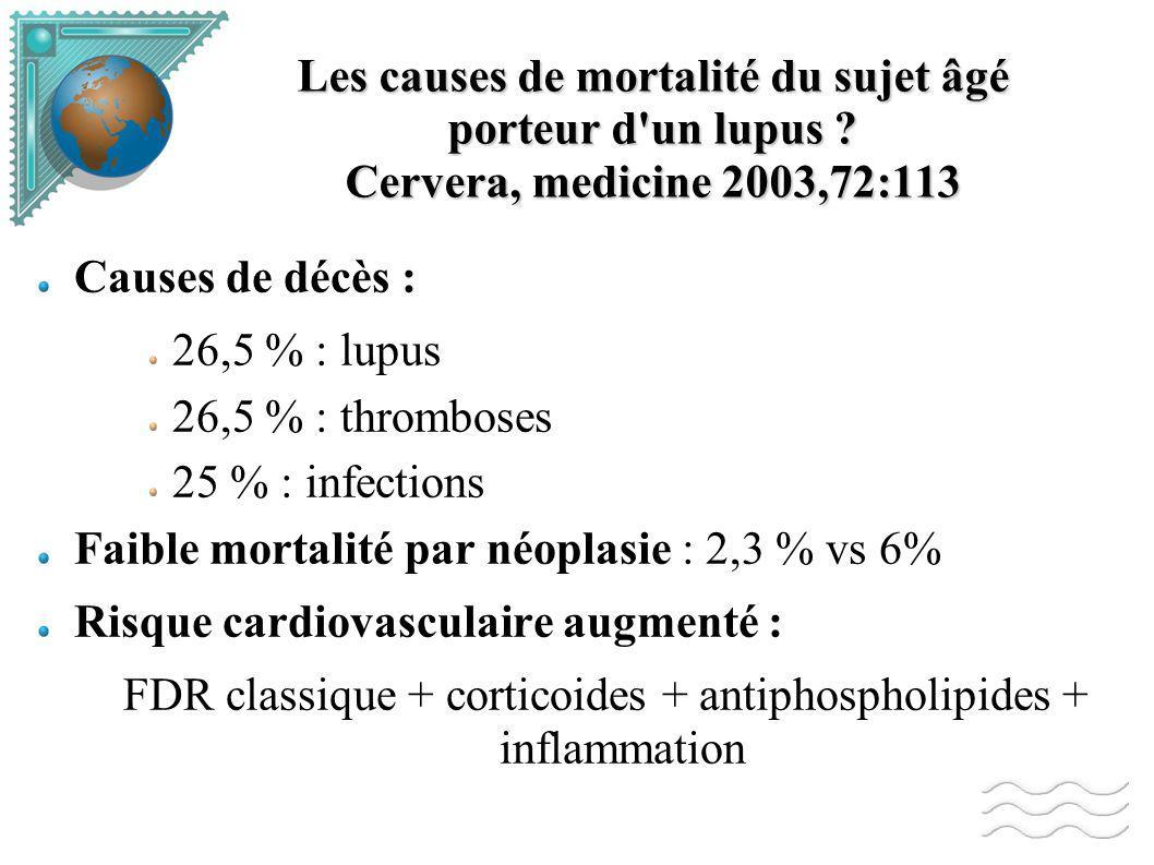 Les causes de mortalité du sujet âgé porteur d un lupus .