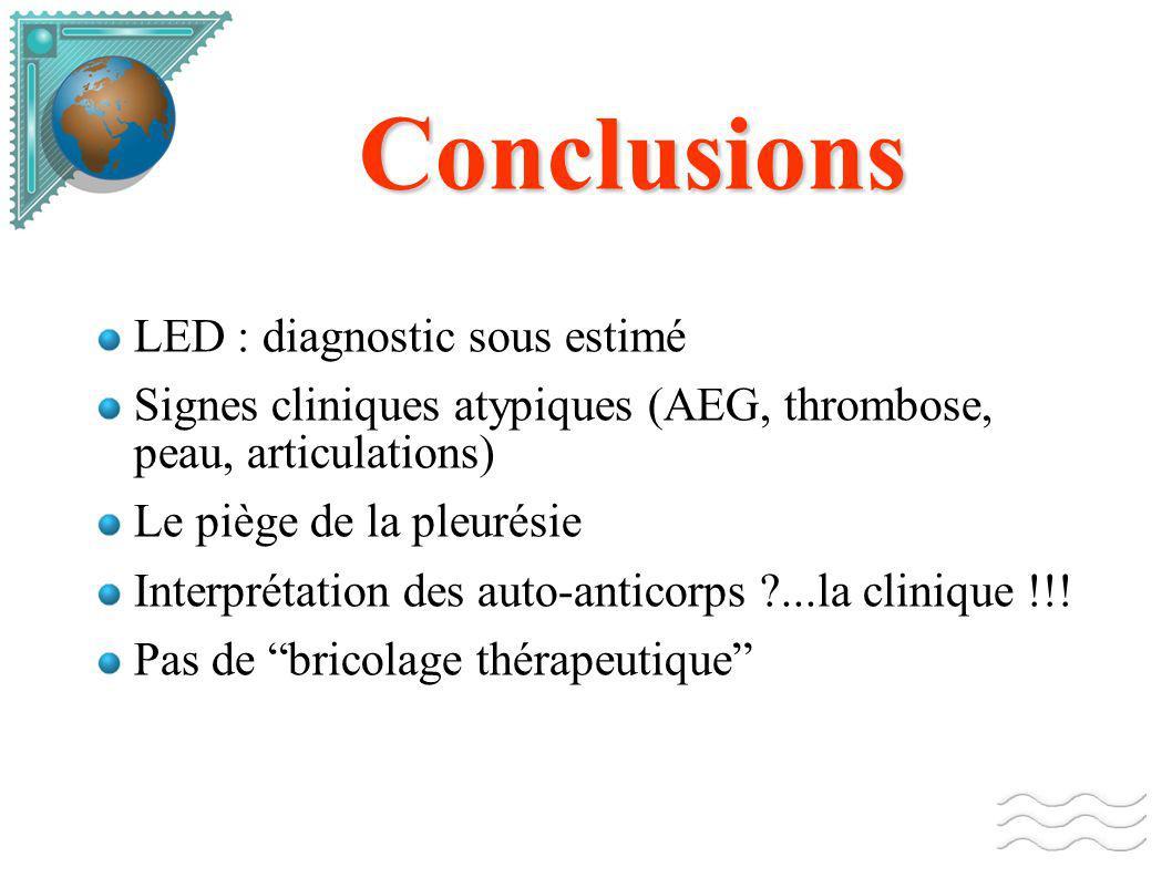 Conclusions LED : diagnostic sous estimé Signes cliniques atypiques (AEG, thrombose, peau, articulations) Le piège de la pleurésie Interprétation des auto-anticorps ?...la clinique !!.