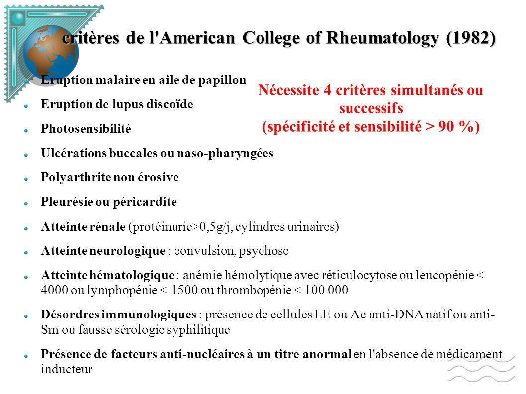 critères de l American College of Rheumatology (1982) Eruption malaire en aile de papillon Eruption de lupus discoïde Photosensibilité Ulcérations buccales ou naso-pharyngées Polyarthrite non érosive Pleurésie ou péricardite Atteinte rénale (protéinurie>0,5g/j, cylindres urinaires) Atteinte neurologique : convulsion, psychose Atteinte hématologique : anémie hémolytique avec réticulocytose ou leucopénie < 4000 ou lymphopénie < 1500 ou thrombopénie < 100 000 Désordres immunologiques : présence de cellules LE ou Ac anti-DNA natif ou anti- Sm ou fausse sérologie syphilitique Présence de facteurs anti-nucléaires à un titre anormal en l absence de médicament inducteur Nécessite 4 critères simultanés ou successifs (spécificité et sensibilité > 90 %)