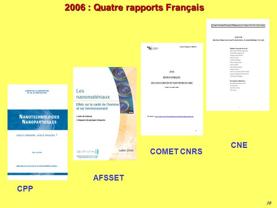 29 Questionnement « nano » et plus g é n é ral 2000 2002 Bill Joy Caroline Lucas Greenpeace Katherine Albrecht J.-P. Dupuy 2005