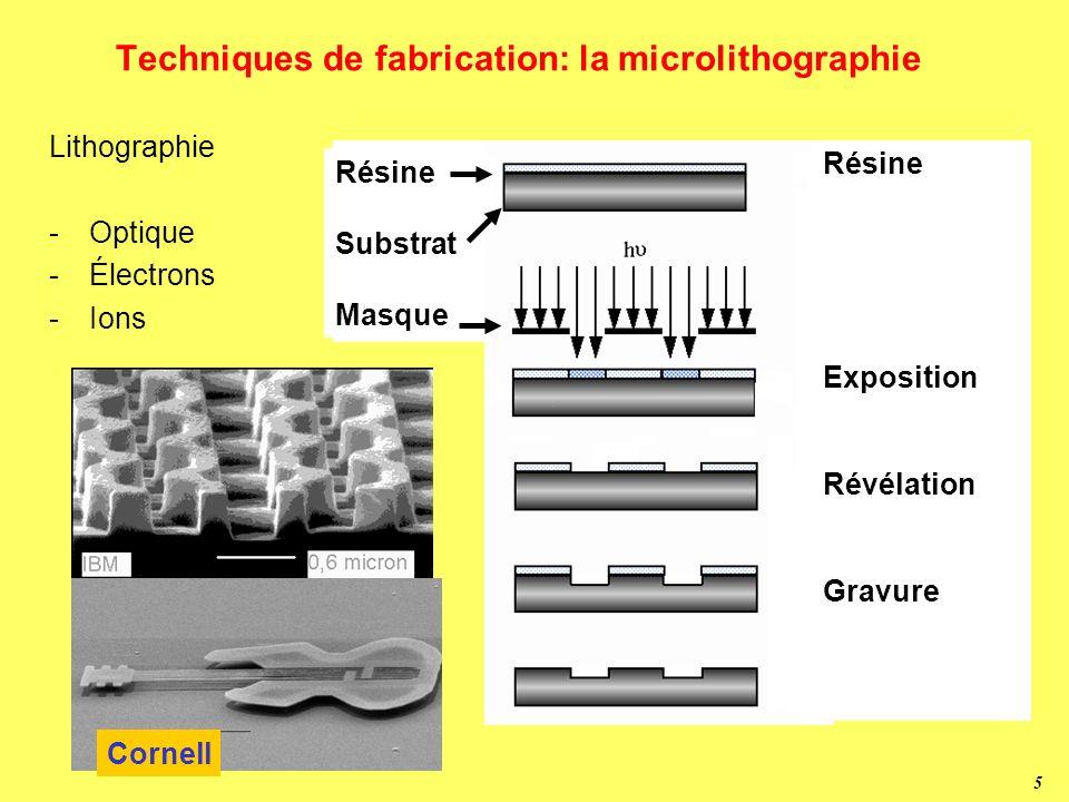 5 Techniques de fabrication: la microlithographie Lithographie -Optique -Électrons -Ions Résine Exposition Révélation Gravure Résine Substrat Masque Cornell