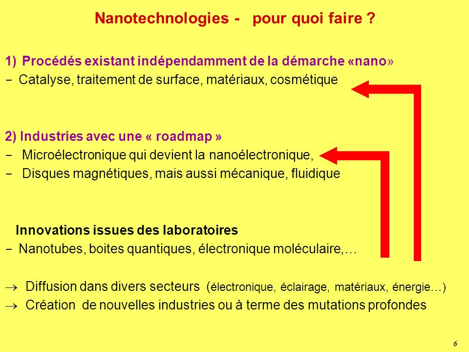 6 Nanotechnologies - pour quoi faire .