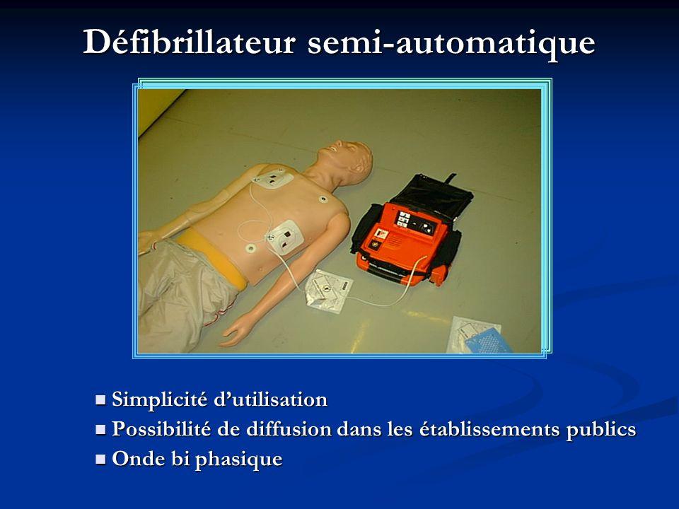 Défibrillateur semi-automatique Simplicité dutilisation Simplicité dutilisation Possibilité de diffusion dans les établissements publics Possibilité d