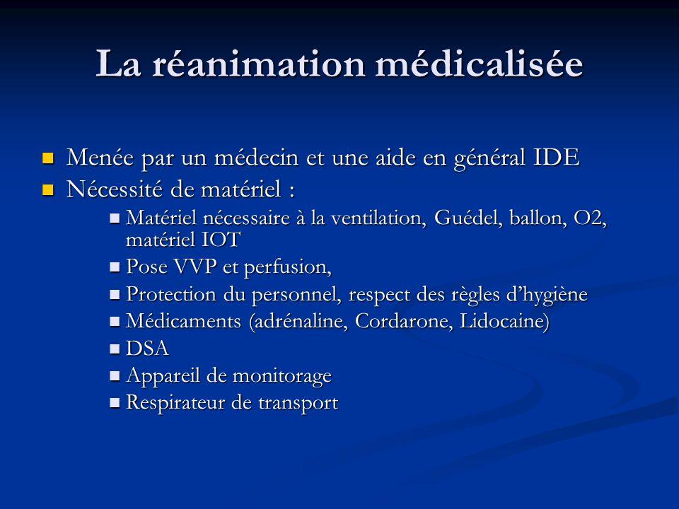 La réanimation médicalisée Menée par un médecin et une aide en général IDE Menée par un médecin et une aide en général IDE Nécessité de matériel : Néc