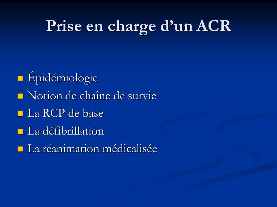 Prise en charge dun ACR Épidémiologie Épidémiologie Notion de chaîne de survie Notion de chaîne de survie La RCP de base La RCP de base La défibrillat
