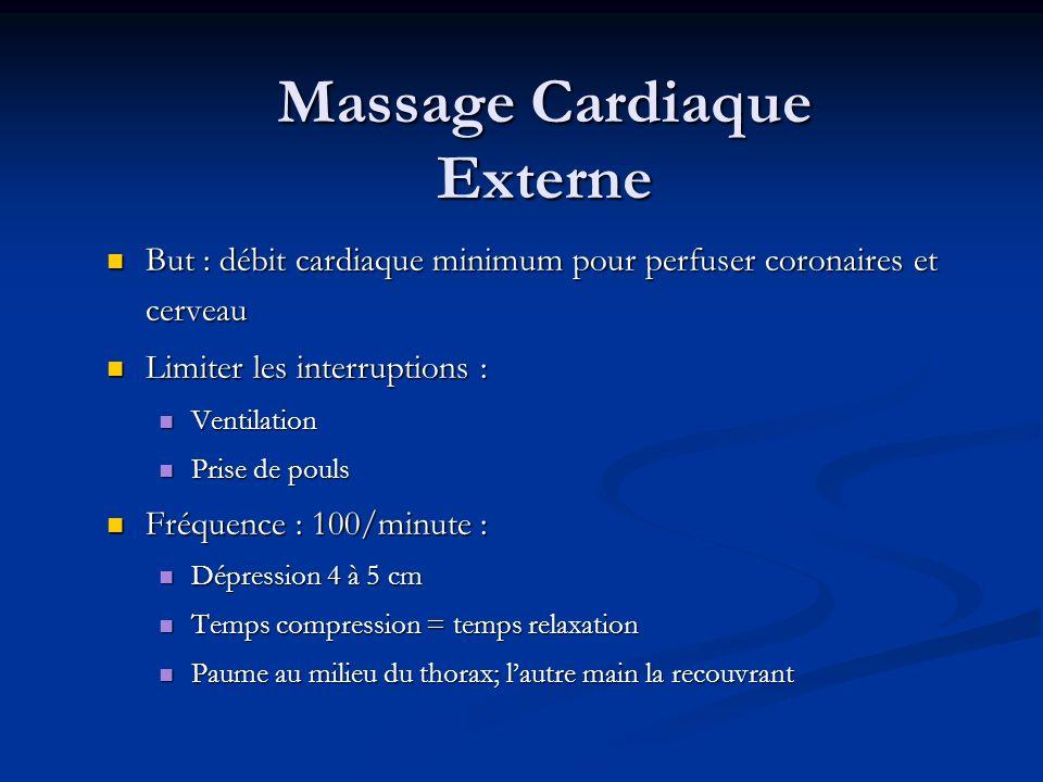 Massage Cardiaque Externe But : débit cardiaque minimum pour perfuser coronaires et cerveau But : débit cardiaque minimum pour perfuser coronaires et