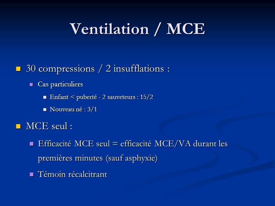 Ventilation / MCE 30 compressions / 2 insufflations : 30 compressions / 2 insufflations : Cas particuliers Cas particuliers Enfant < puberté - 2 sauve
