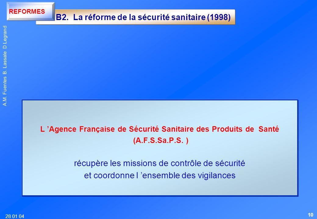 28 01 04 A.M. Fuentes B. Lassale D Legrand L Agence Française de Sécurité Sanitaire des Produits de Santé (A.F.S.Sa.P.S. ) récupère les missions de co