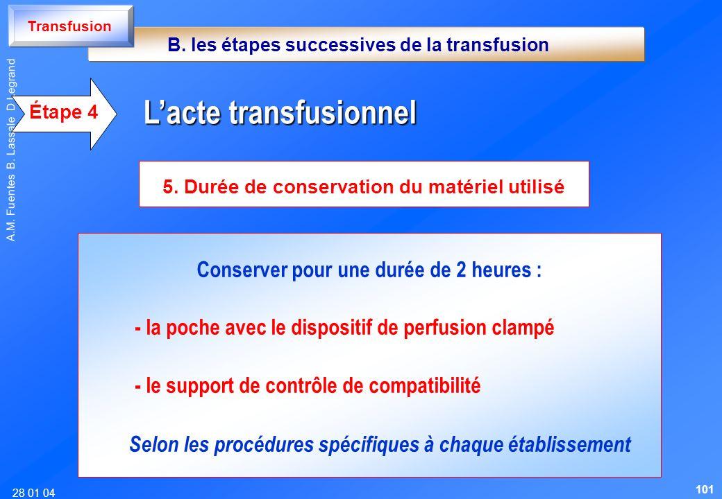 28 01 04 A.M. Fuentes B. Lassale D Legrand Conserver pour une durée de 2 heures : - la poche avec le dispositif de perfusion clampé - le support de co