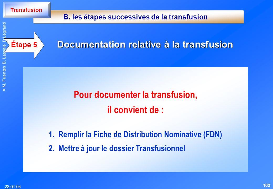 28 01 04 A.M. Fuentes B. Lassale D Legrand Étape 5 Documentation relative à la transfusion Pour documenter la transfusion, il convient de : 1. Remplir
