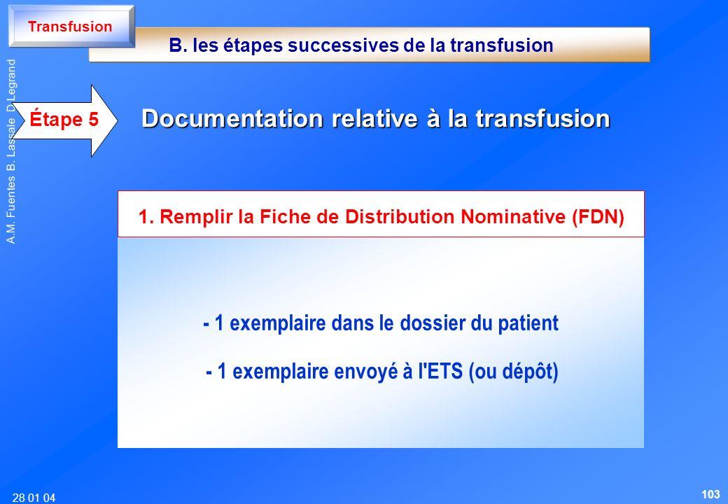 28 01 04 A.M. Fuentes B. Lassale D Legrand Documentation relative à la transfusion - 1 exemplaire dans le dossier du patient - 1 exemplaire envoyé à l