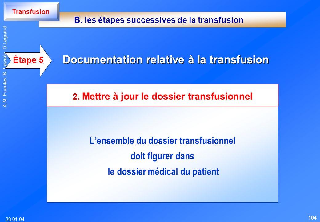 28 01 04 A.M. Fuentes B. Lassale D Legrand Lensemble du dossier transfusionnel doit figurer dans le dossier médical du patient Documentation relative