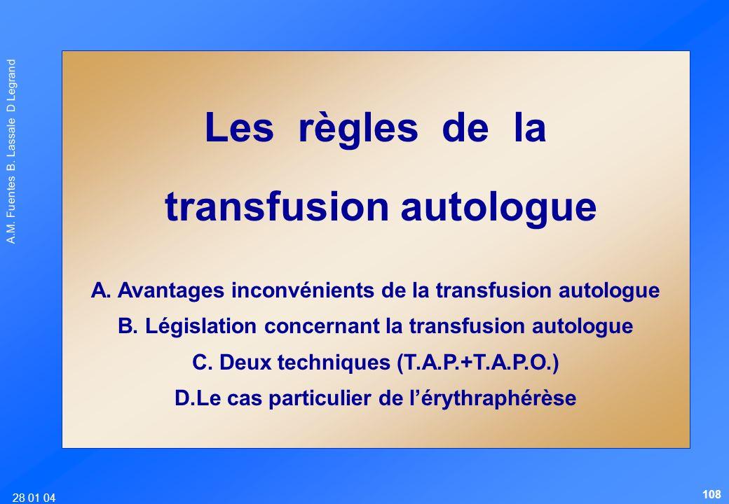 28 01 04 A.M. Fuentes B. Lassale D Legrand Les règles de la transfusion autologue A. Avantages inconvénients de la transfusion autologue B. Législatio