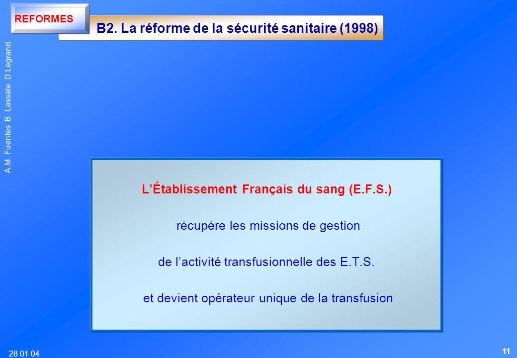 28 01 04 A.M. Fuentes B. Lassale D Legrand LÉtablissement Français du sang (E.F.S.) récupère les missions de gestion de lactivité transfusionnelle des