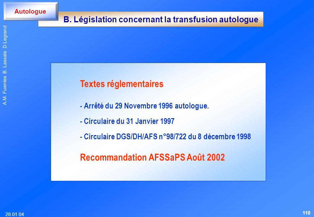 28 01 04 A.M. Fuentes B. Lassale D Legrand B. Législation concernant la transfusion autologue Autologue Textes réglementaires - Arrêté du 29 Novembre