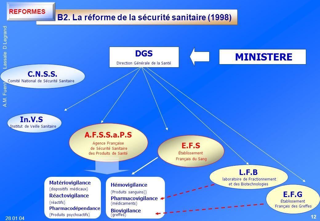 28 01 04 A.M. Fuentes B. Lassale D Legrand MINISTERE DGS Direction Générale de la Santé C.N.S.S. Comité National de Sécurité Sanitaire In.V.S Institut
