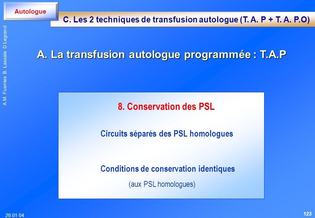 28 01 04 A.M. Fuentes B. Lassale D Legrand 8. Conservation des PSL Circuits séparés des PSL homologues Conditions de conservation identiques (aux PSL