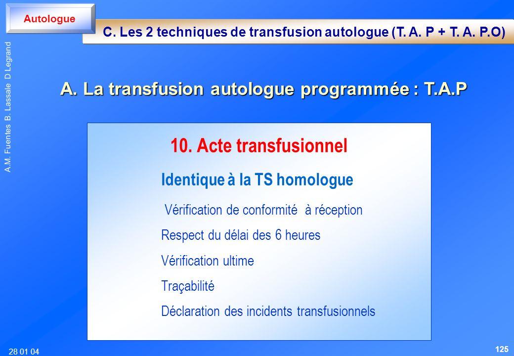 28 01 04 A.M. Fuentes B. Lassale D Legrand 10. Acte transfusionnel Identique à la TS homologue Vérification de conformité à réception Respect du délai