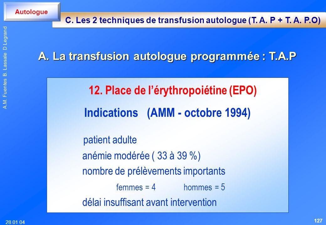 28 01 04 A.M. Fuentes B. Lassale D Legrand 12. Place de lérythropoiétine (EPO) Indications (AMM - octobre 1994) patient adulte anémie modérée ( 33 à 3