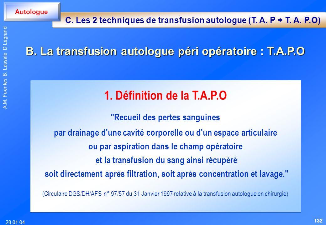 28 01 04 A.M. Fuentes B. Lassale D Legrand 1. Définition de la T.A.P.O