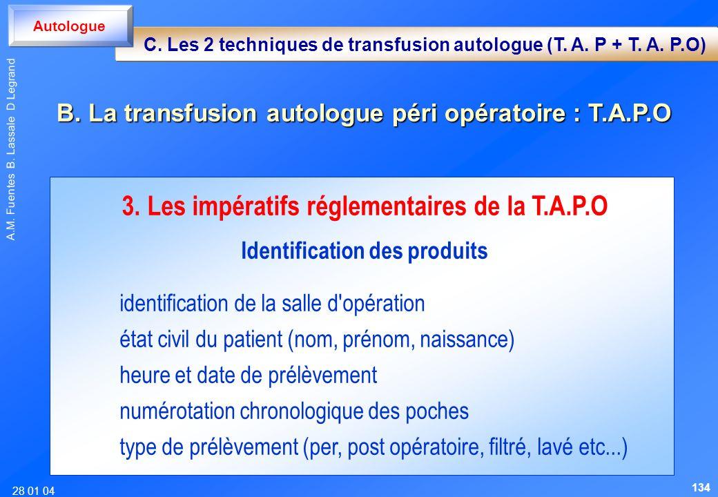 28 01 04 A.M. Fuentes B. Lassale D Legrand 3. Les impératifs réglementaires de la T.A.P.O Identification des produits identification de la salle d'opé