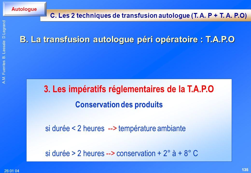28 01 04 A.M. Fuentes B. Lassale D Legrand 3. Les impératifs réglementaires de la T.A.P.O Conservation des produits si durée température ambiante si d